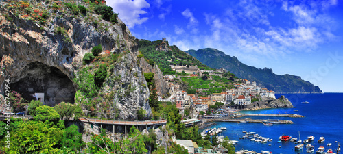 scenic Amalfi coast, view with cave and serpantine road