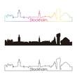 Stockholm skyline linear style with rainbow