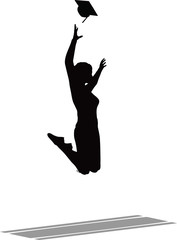 Jumping in the Air for the Graduation Cap - Black Mortarboard