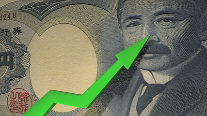 Japanese Yen currency value up animation.