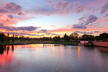 Evening city pond in Rimini. Italy