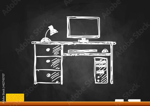 Computer drawing on blackboard