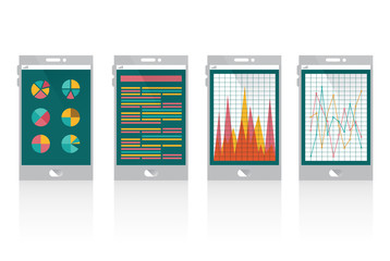 Financial graph on smart phone.  flat design. vector