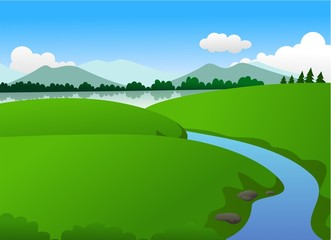 Beautiful Green Nature With Lake and Mountain