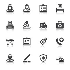 Hospital and emergency. Healthcare flat icons with reflection