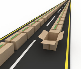 Stream of cardboard boxes on road. Concept of fast delivery