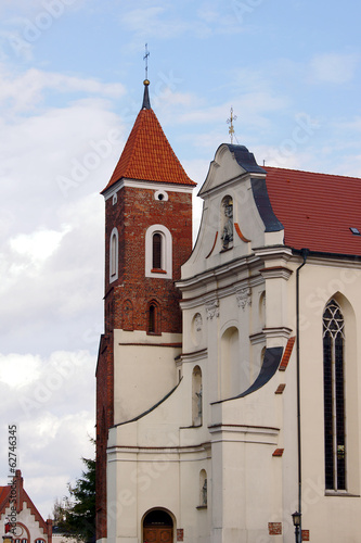 The baroque church with a Gothic tower in Gniezno.