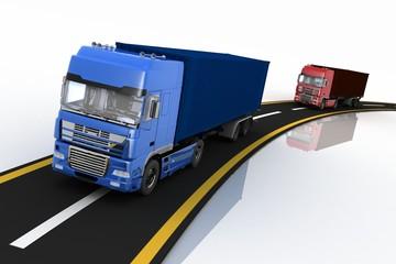 Trucks on freeway. Concept of logistics