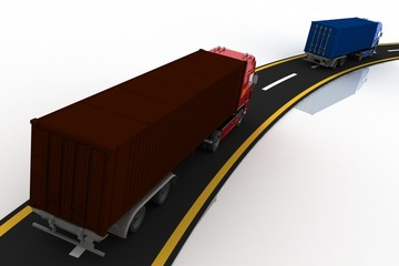 Trucks on freeway. Concept of logistics