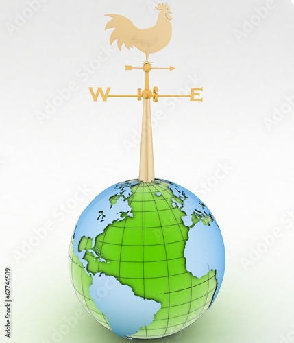Weathercock and globe. 3d illustration on white