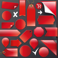 Vector Set red labels+Buttons+Ribbons