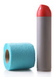 Colorful toilet paper roll and air fresher, isolated on white