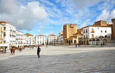 Plaza Mayor de Cáceres, Extremadura, España