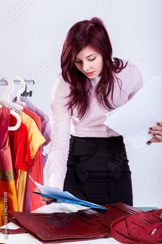 Woman looking for an important document