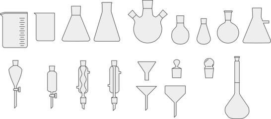 Set of chemical glassware