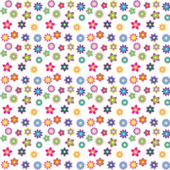 colorful flowers with different shapes floral seamless pattern