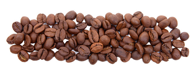 Minus sign of coffee beans isolated on white