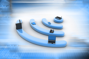 Internet via router on pc, phone, laptop and tablet pc.