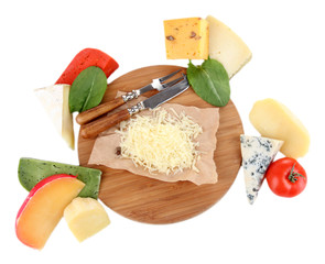 Different Italian cheese on wooden board, isolated on white