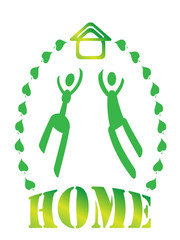Vector icon, people simbol, home,house, leaf
