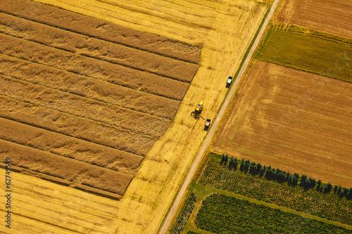 canvas print picture Getreideernte aus der Luft