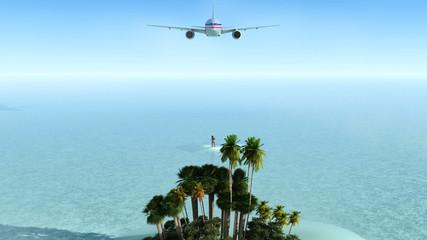 sol, playa y avion