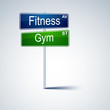 Fitness gym direction road sign.