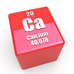 Calcium symbol on glossy red cube