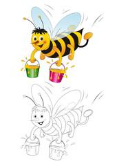 """Malvorlage """"Honigbiene trägt Eimer mit Honig"""""""
