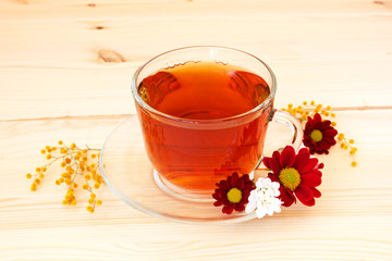 cup of fragrant tea and spring flowers