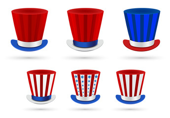 Six independence day hats set in different color combinations