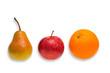 Vergleich von Apfel, Birne und Orange