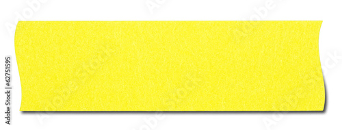 Yellow rectangular sticky note isolated, with shadow