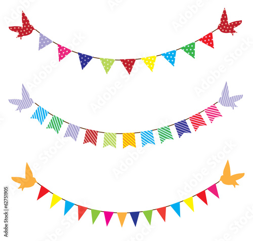 vector bunting with birds