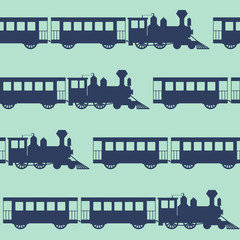 Vintage vector seamless background with steam trains