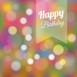 Fototapety Cute colorful birthday card invitation with lights, vector