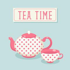 Tea time. Polka-dot tea pot and cup.