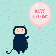 Funny cat with balloon. Birthday greeting card