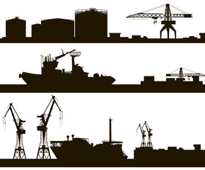 harbor skyline vector silhouette