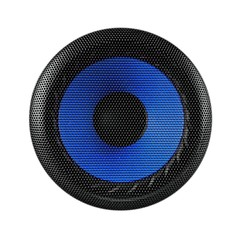 Blue and black speaker sub woofer isolated on white
