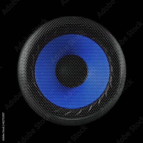 Blue and black speaker sub woofer over a black background