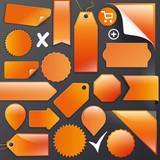 Vector Set orange labels+Buttons+Ribbons