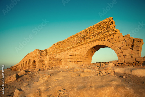 Aqueduct in ancient city Caesarea in Israel