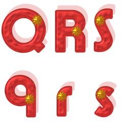 Q,R,S, Buchstaben,Rot,Gold,Metallisch