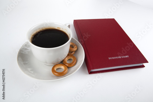 business diary with cup of coffee 2
