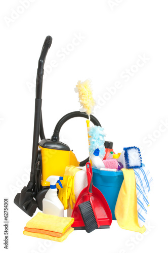 cleaning supplies on white background