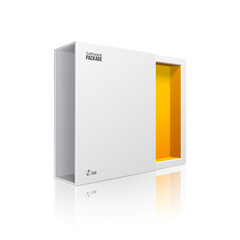 Opened White Modern Software Package Box Orange Yellow