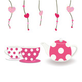 Pink teacup and teapot with hearts vector