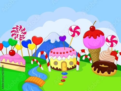 Happy children in the fantasy sweet land