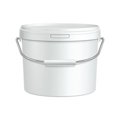 White Tub Paint Plastic Bucket Container With Metal Handle